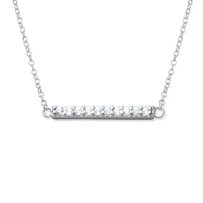 Collar de barra horizontal con circonia cúbica en plata 925