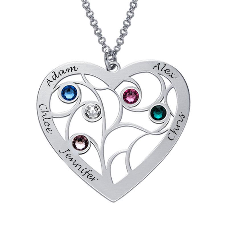 Collar Árbol de la Vida en forma de Corazón con Piedras de Nacimiento en Plata de Ley