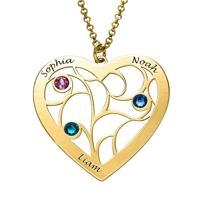Collar Árbol de la Vida en forma de Corazón con Piedras de Nacimiento Chapado en Oro - 2