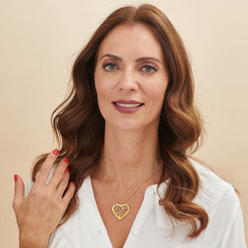 Collar Árbol de la Vida en forma de Corazón con Piedras de Nacimiento Chapado en Oro - 4