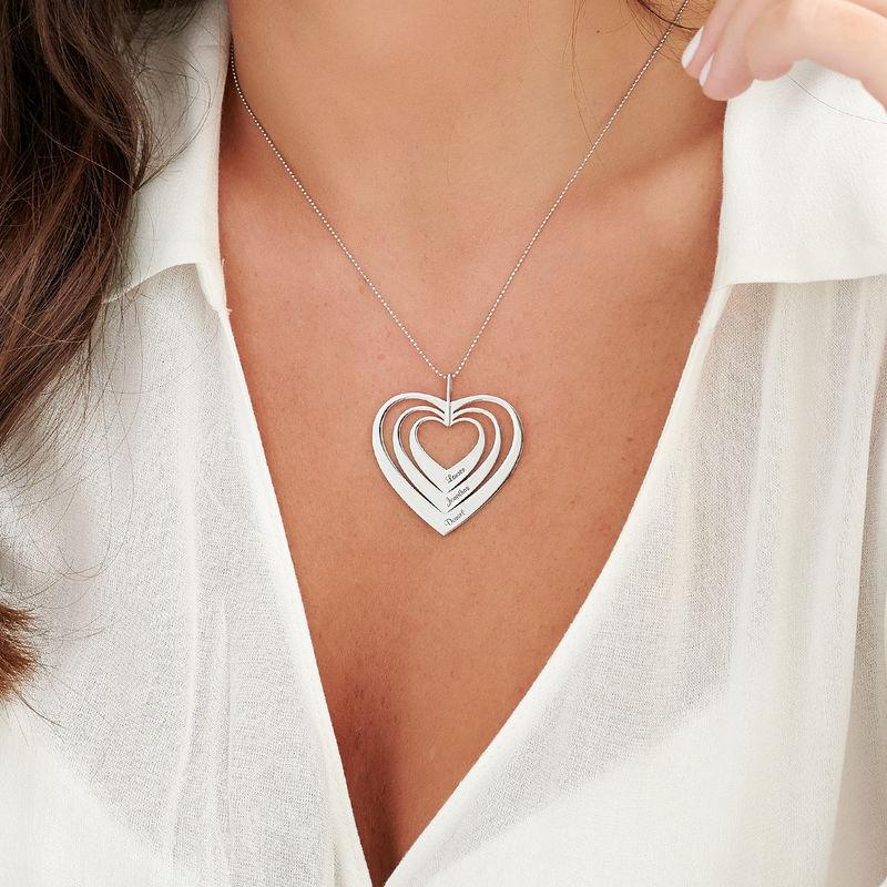 Collar de corazón familiar en oro blanco 10K - 2