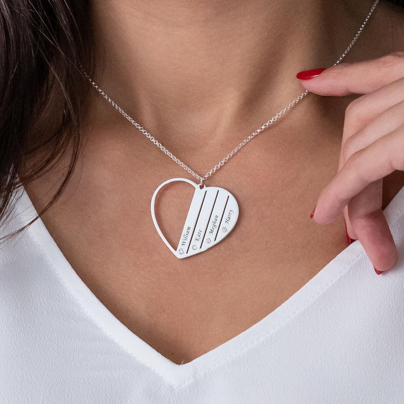 Collar Mamá de plata con diamantes - 3