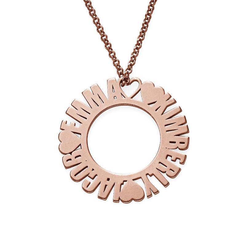 Collar con Nombre en Círculo Chapado en Oro Rosa