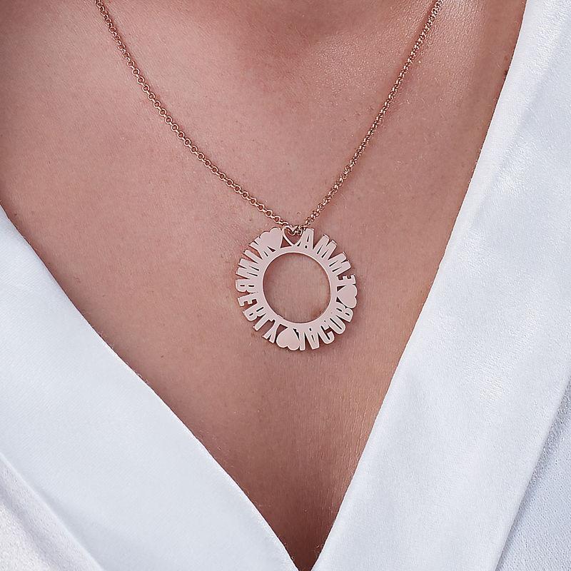 Collar con Nombre en Círculo Chapado en Oro Rosa - 2