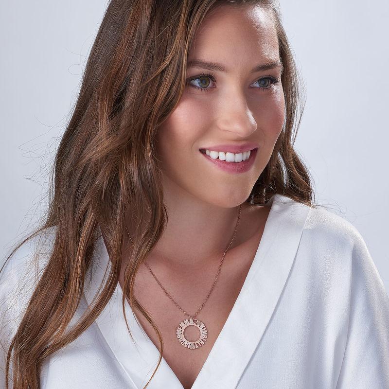 Collar con Nombre en Círculo Chapado en Oro Rosa con Efecto Diamante - 1