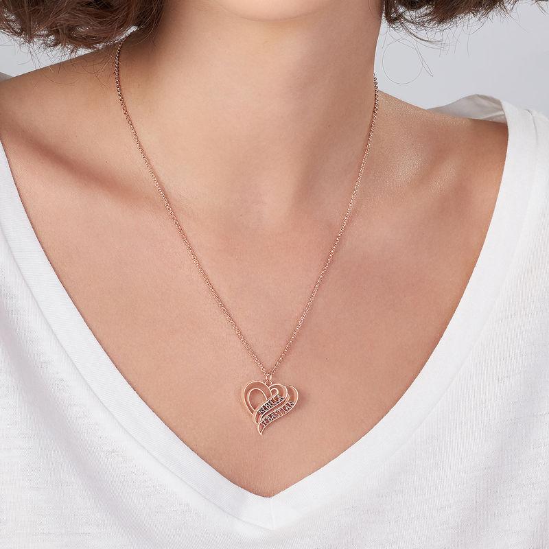 Collar Personalizado de Corazón 3D Chapado en Oro Rosa 18k - 3