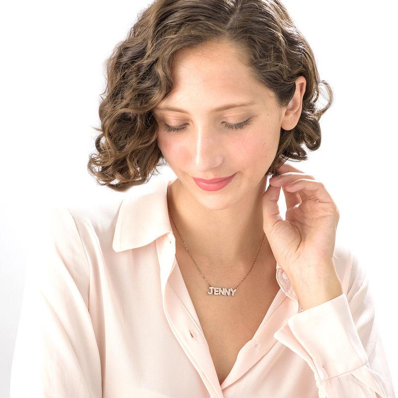 Collar con Nombre con Swarovski Chapado en Oro Rosa - 2
