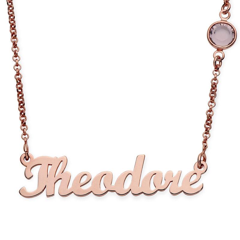Collar con Nombre Chapado en Oro Rosa con Una Piedra de Nacimiento