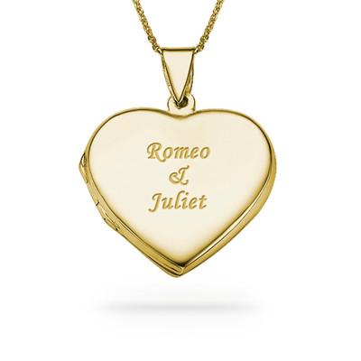 Collar de Medallón de Corazón Grabado en Chapa de Oro de 18K