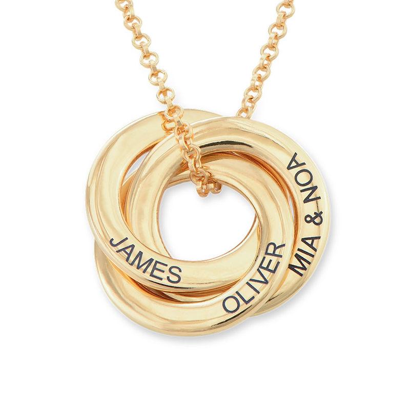 Collar anillo ruso chapado en oro - diseño 3D curvo