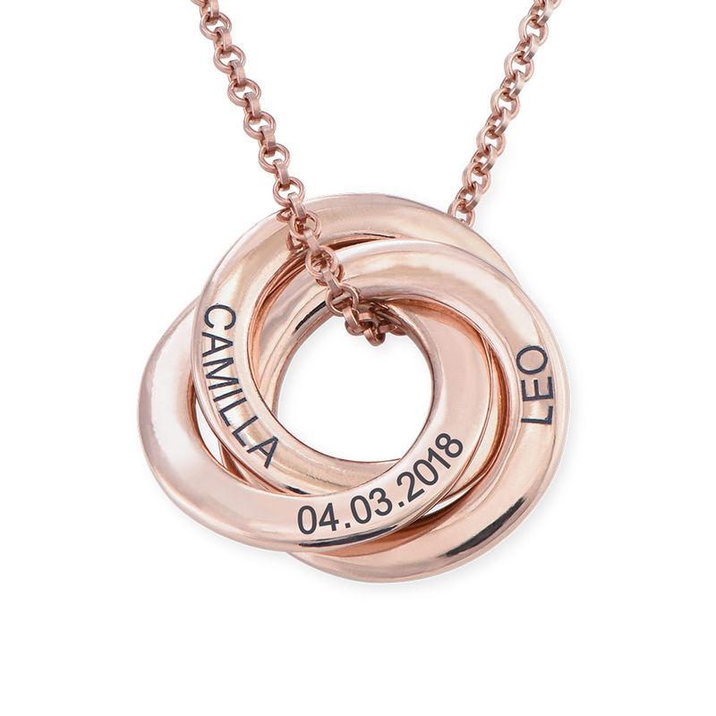 Collar anillo ruso chapado en oro rosa - diseño 3D curvo - 1