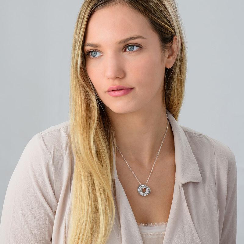 Collar anillo ruso con circonia cúbica en plata - 2