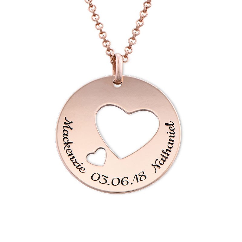 Collar círculo de amor chapado en oro rosa - 1