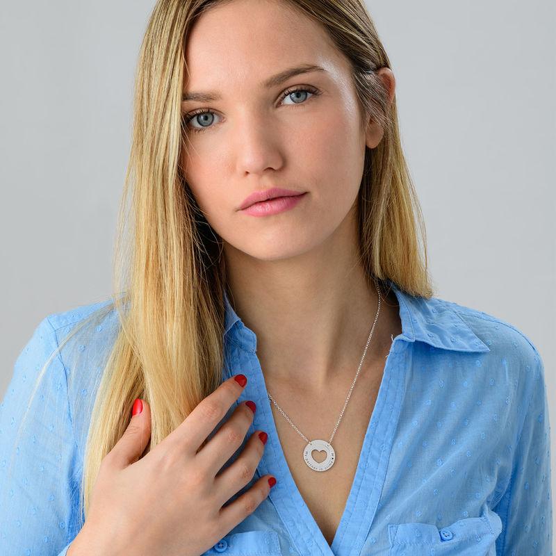 Collar de corazón circular en plata - 2