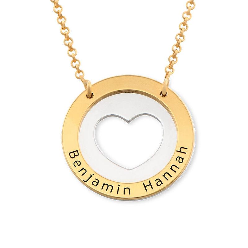 Collar de corazón circular en plata y chapado en oro