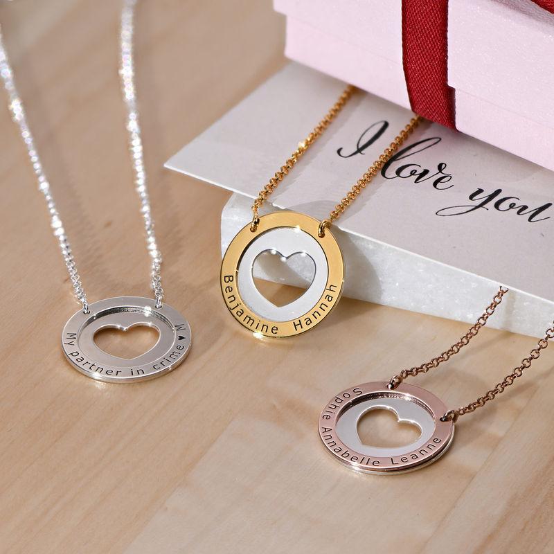 Collar de corazón circular en plata y chapado en oro - 1