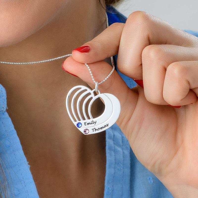Collar de corazón grabado en plata - 3