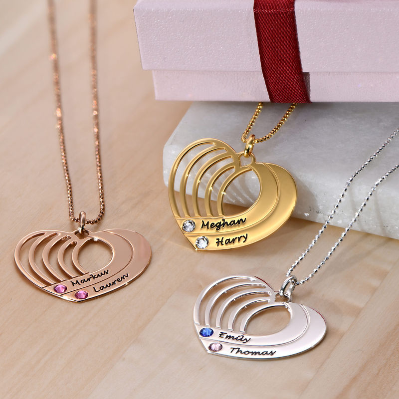 Collar de corazón grabado chapado en oro - 2