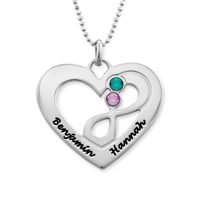 Collar de corazón en plata con piedras de nacimiento