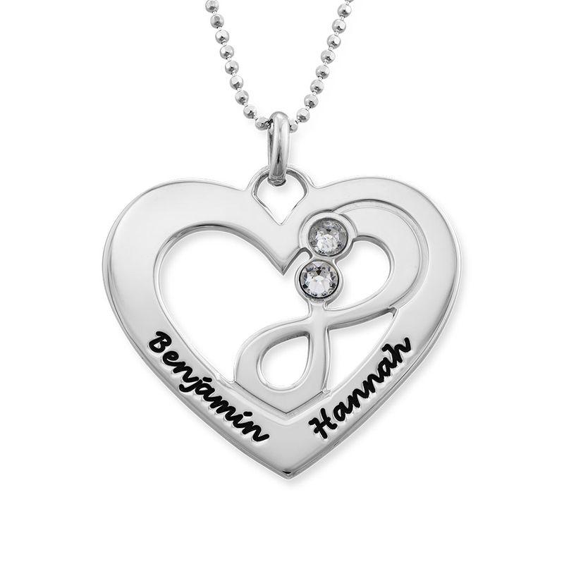 Collar de corazón en plata con piedras de nacimiento - 1