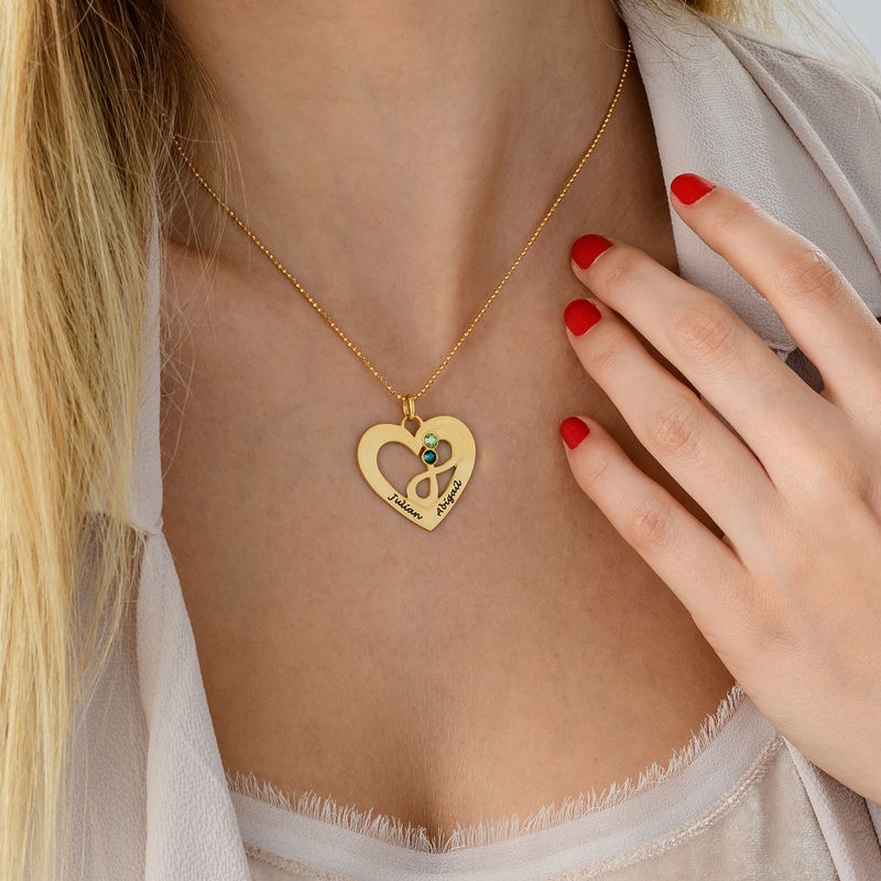 Collar infinito de corazón chapado en oro - 3