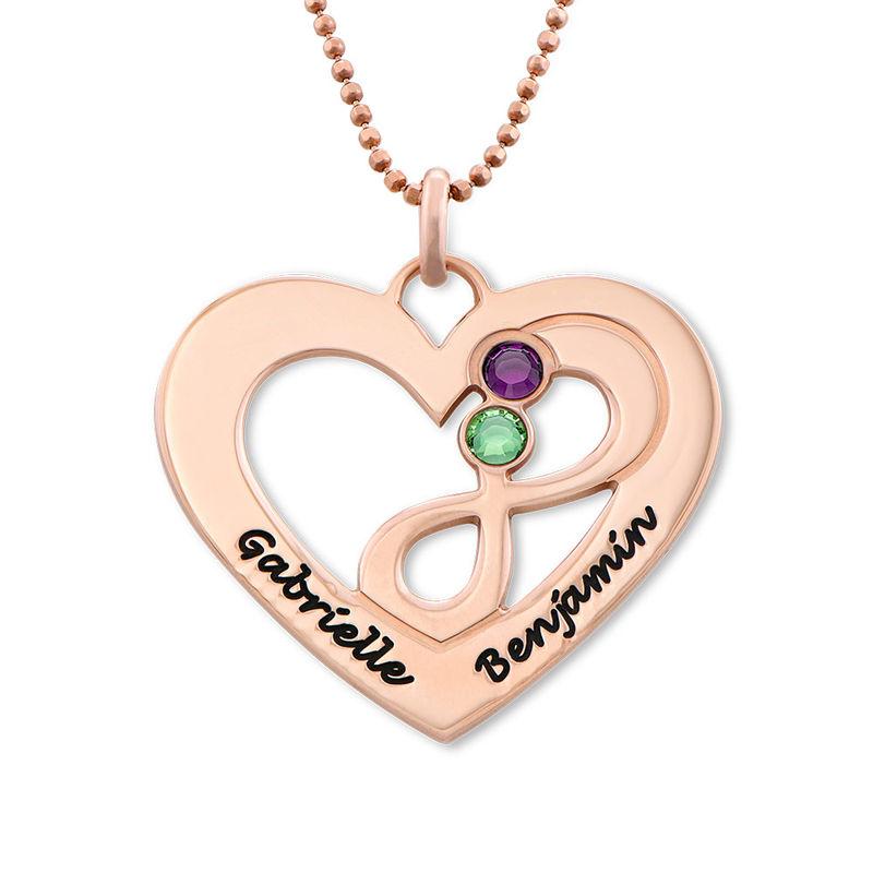 Collar infinito de corazón chapado en oro rosa foto de producto