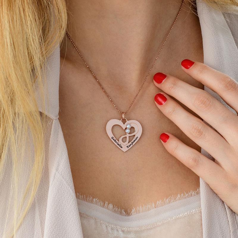 Collar infinito de corazón chapado en oro rosa - 4