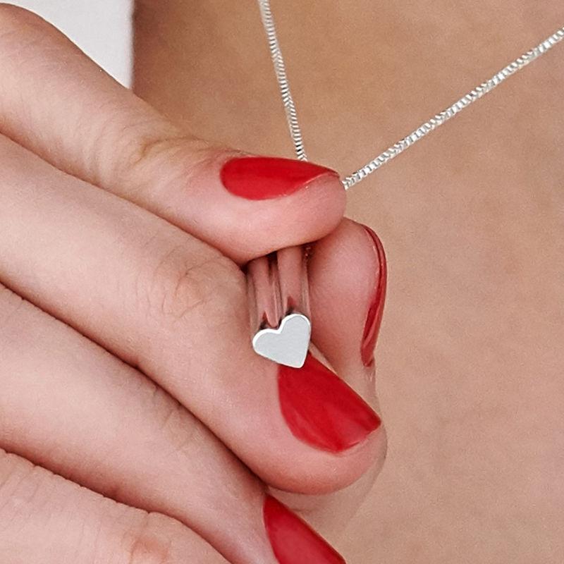 Collar de barra grabado 3D con forma de corazón en plata 925 - 5