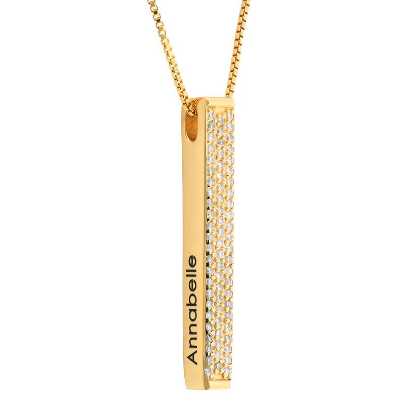 Collar de Barra Grabado 3D Vertical Chapado en Oro con Circonia Cúbica foto de producto