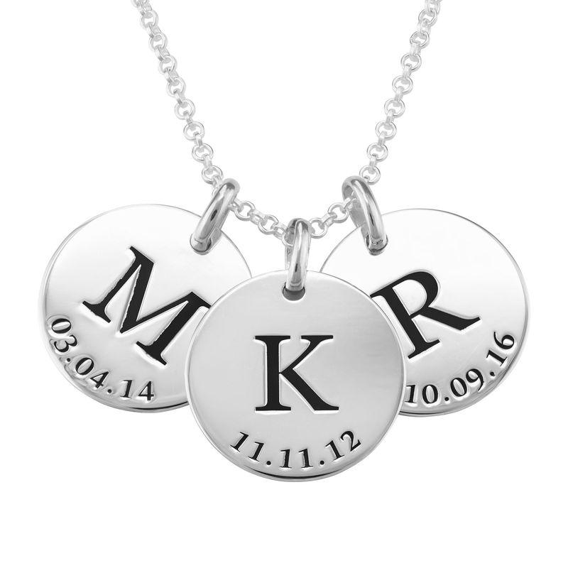 Collar personalizado con iniciales y fecha en plata 925 - 1