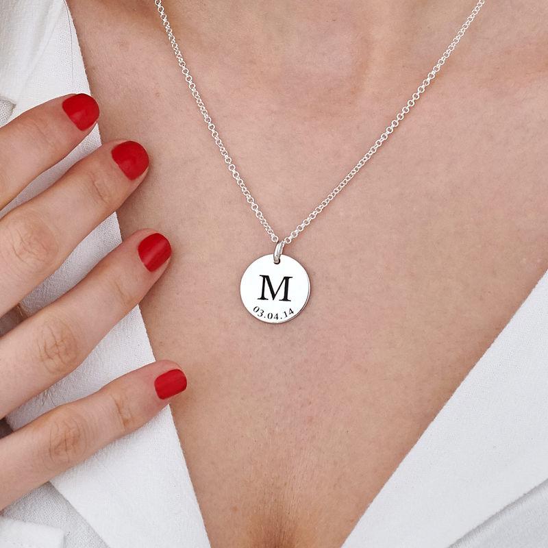Collar personalizado con iniciales y fecha en plata 925 - 5