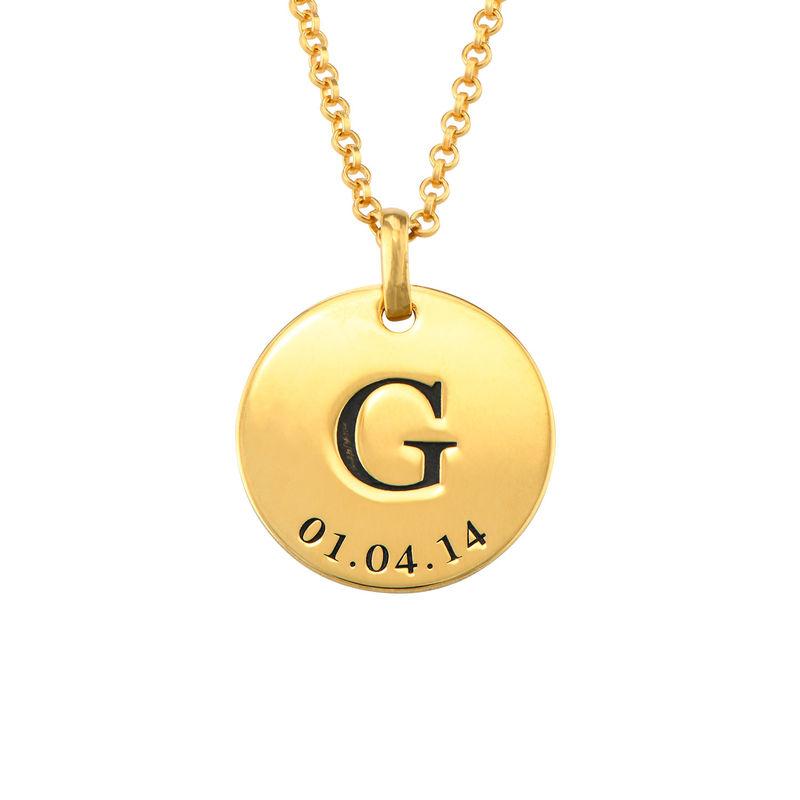 Collar personalizado con iniciales y fecha chapado en oro