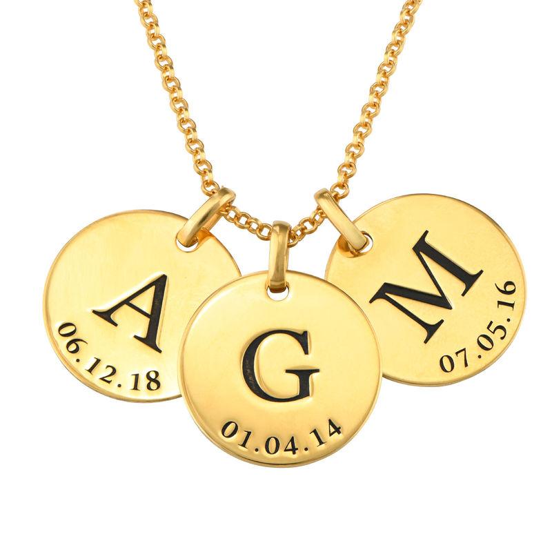 Collar personalizado con iniciales y fecha chapado en oro - 1