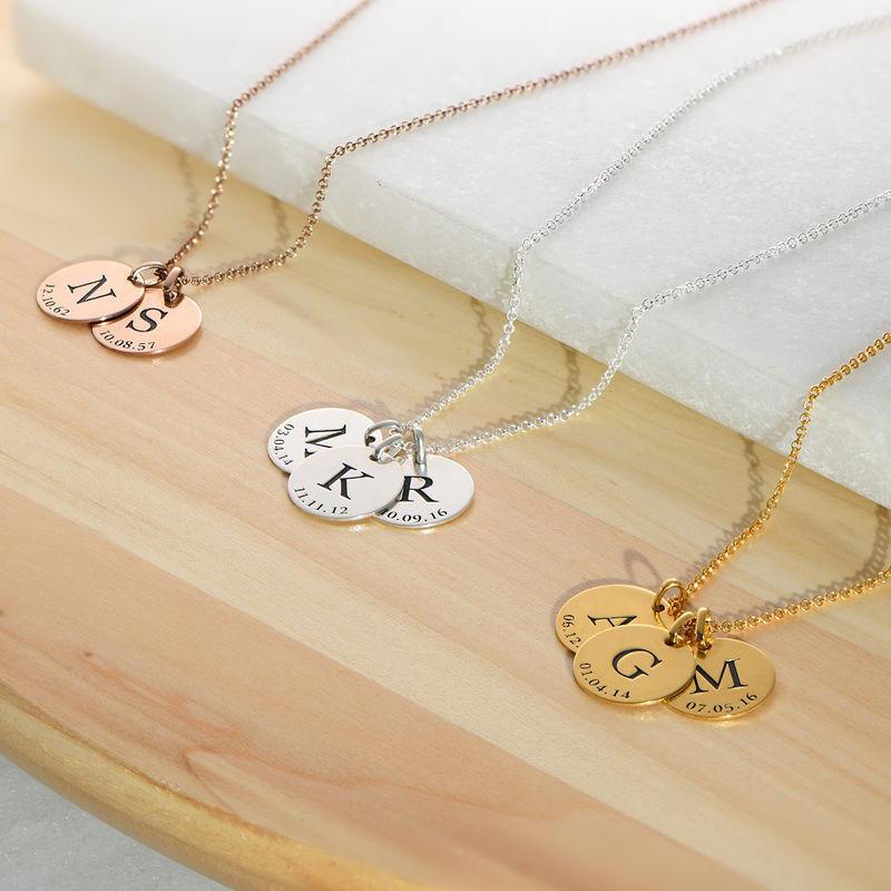 Collar personalizado con iniciales y fecha chapado en oro - 2