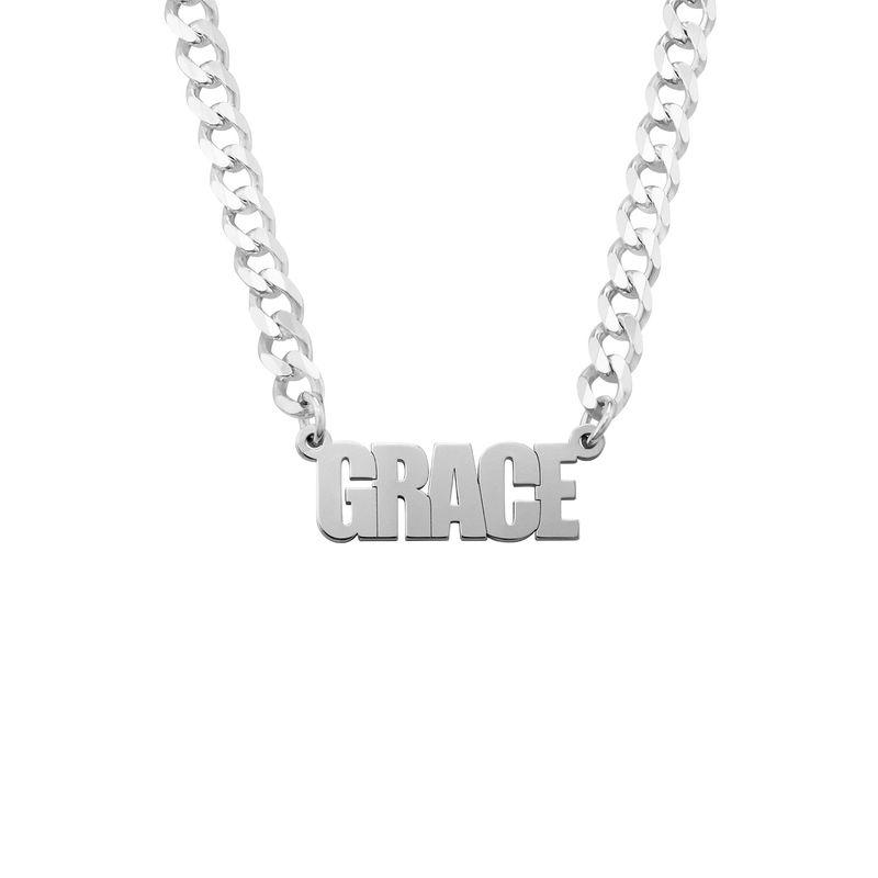 Collar con nombre con cadena gruesa en plata