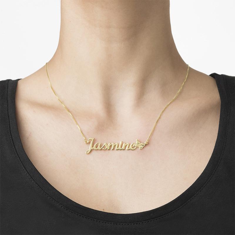 Collar con Nombre y Mariposa en oro macizo de 10K - 1
