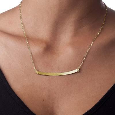 Collar de barra curvado personalizado en chapa de oro de 18K - 1