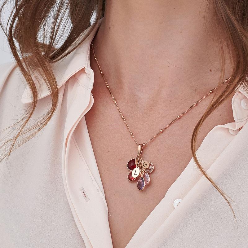Colgante personalizado con piedra de nacimiento para mamá chapado en oro rosa - 3