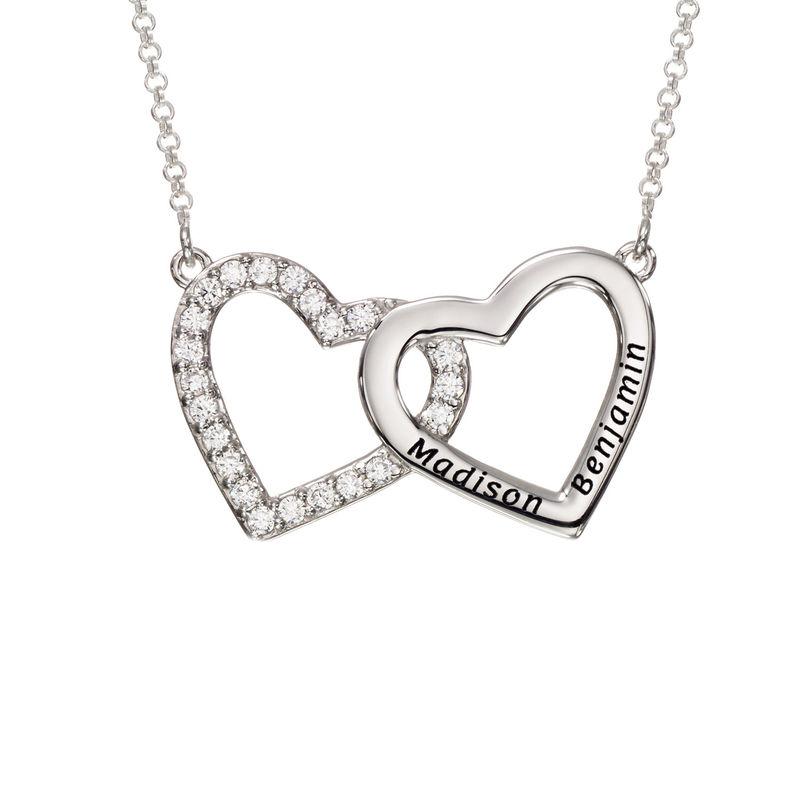 Collar de doble corazón grabado en plata 925