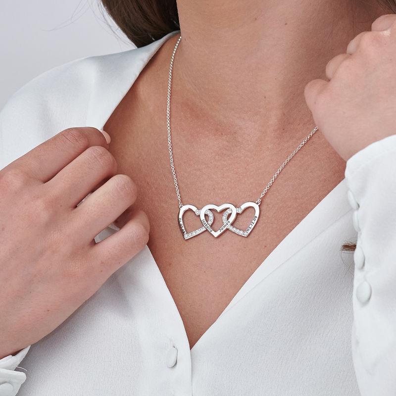 Collar de 3 corazones grabado en plata - 2
