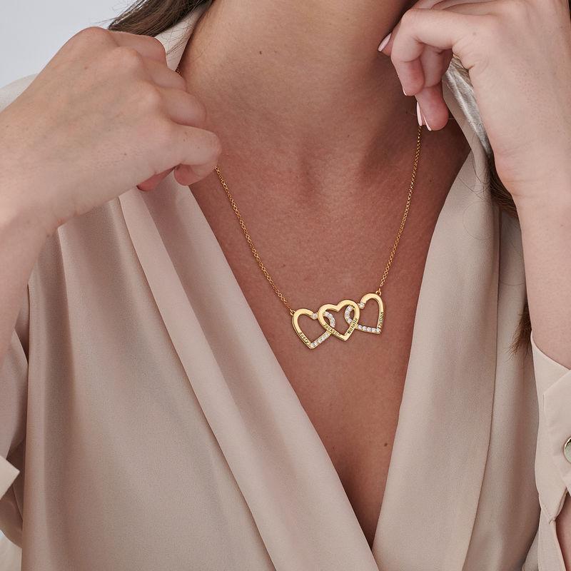 Collar de 3 corazones grabado chapado en oro - 2