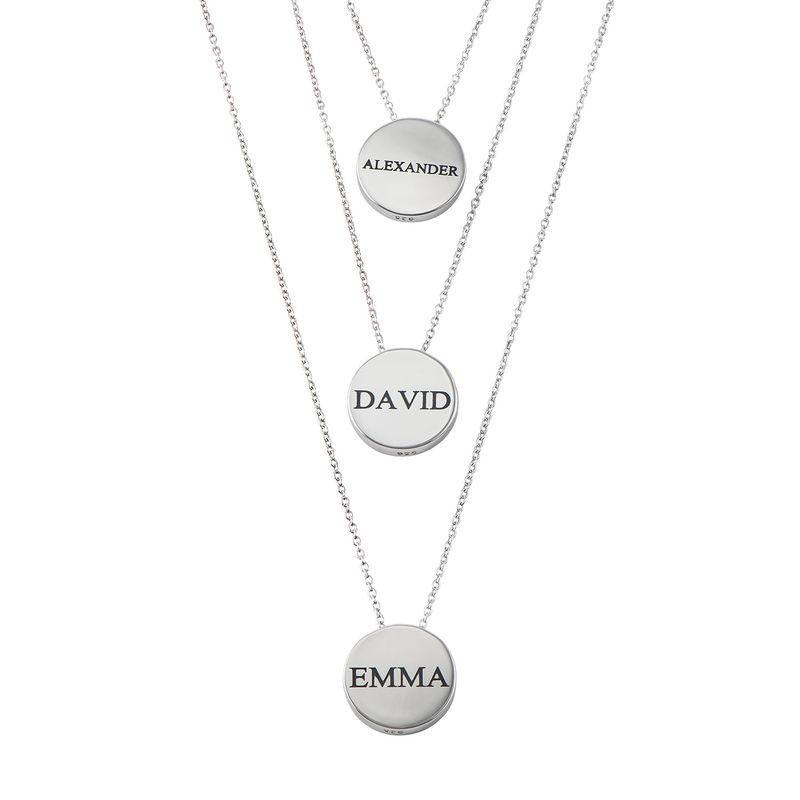 Collar con medalla grabada gruesa en plata - 2