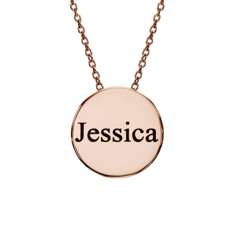 Collar con medalla grabada gruesa chapado en oro rosa