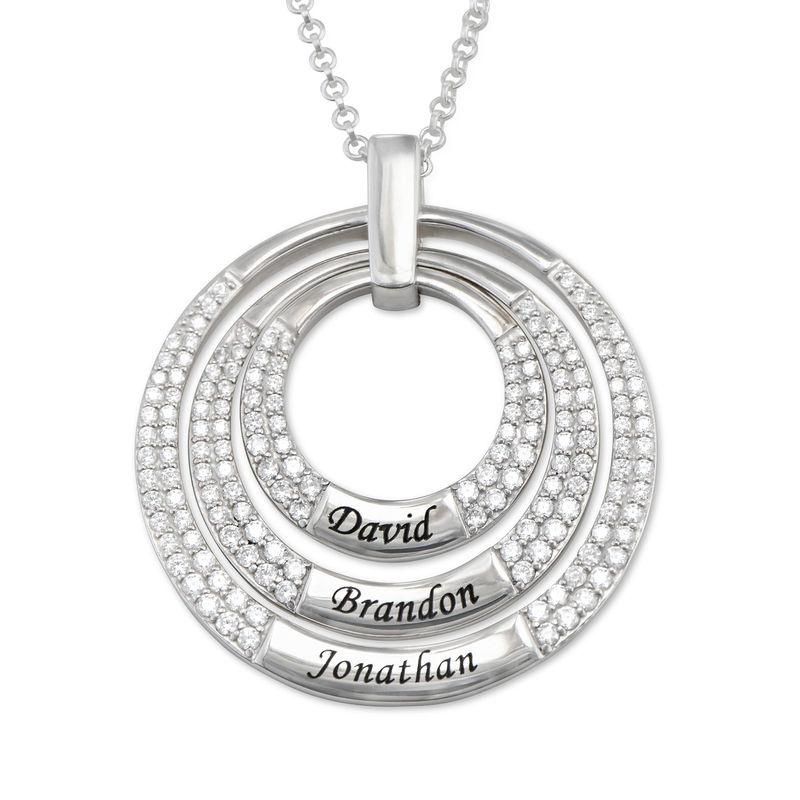 Colgante para mamá con círculos grabados en plata 925