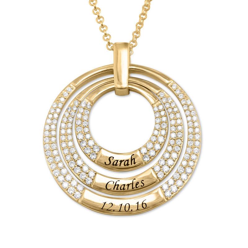 Colgante para mamá con círculos grabados chapado en oro