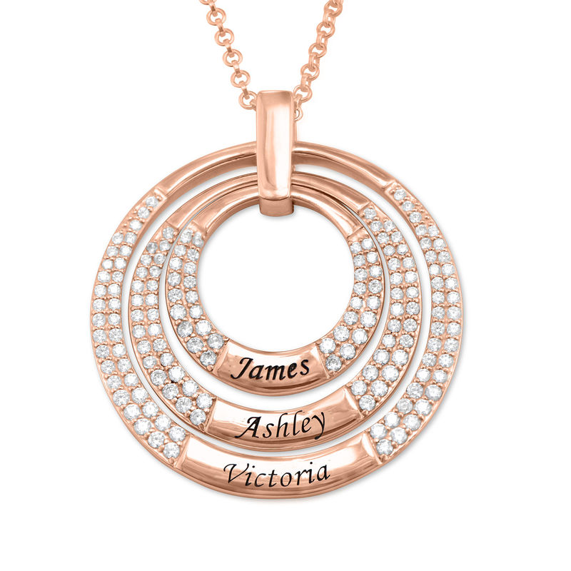 Colgante para mamá con círculos grabados chapado en oro rosa