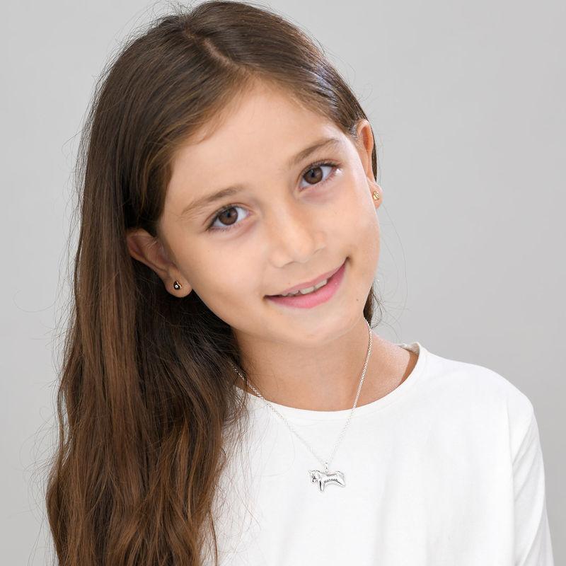 Collar de unicornio para niñas en plata 925 con circonia cúbica - 1