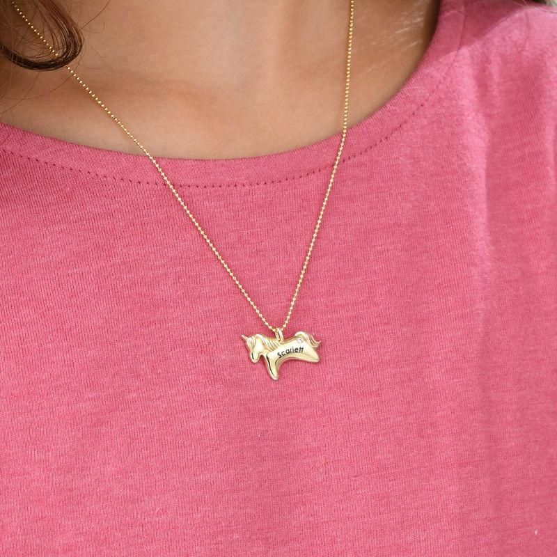 Collar de unicornio para niñas en oro amarillo de 10K con circonia cúbica - 2