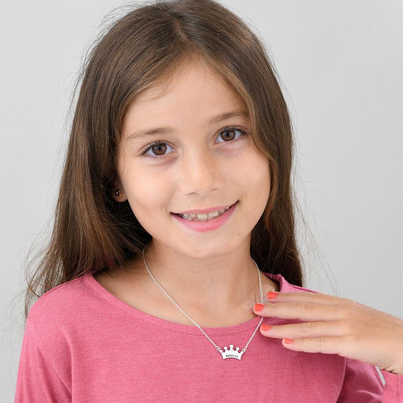 Collar para niñas con corona de princesa y circonia cúbica - 1