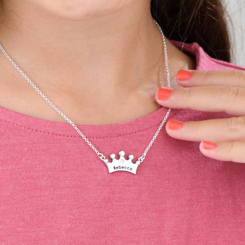 Collar para niñas con corona de princesa y circonia cúbica - 2
